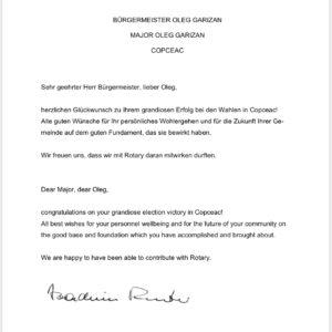 Глава Rotary Club (Германия), поздравил Олега Гаризан с победой на выборах примара, пожелав дальнейшего процветания Копчаку