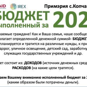 (Инфографика) Узнай исполненный бюджет села Копчак за 2020 год