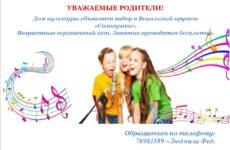 Объявлен набор в вокальный кружок  «Соловушка»